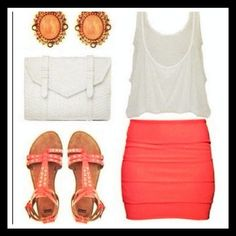 pink summer outfit. love the bandage skirt