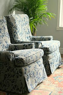 these were those tufted rocker swivel velvet chairs from back when -- redone with new slipcovers -- amazing ~~~