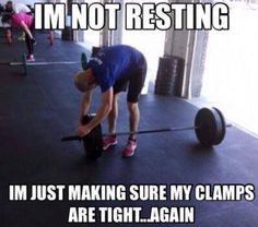 Hahaha! I have no shame in resting. Yes, I'm going to stand here for five minutes trying to talk myself into squatting down and picking up that stupid bar again.