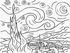 Starry Night By Vincent Van Gogh Coloring page-here is a site with tens of thousands of coloring pages, including famous […] Make your world more colorful with free printable coloring pages from italks. Our free coloring pages for adults and kids. Vincent Van Gogh, Van Gogh For Kids, Art For Kids, Art Children, Free Printable Coloring Pages, Coloring Book Pages, Coloring Sheets, Kids Coloring, Van Gogh Zeichnungen