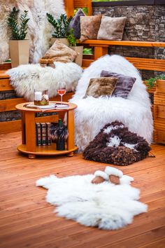 Home accessories collection by GENA (fur beanbag, fur pillows, slippers, decorative skins)