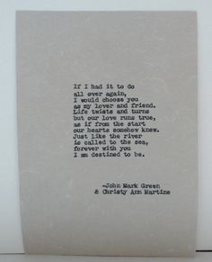 Anniversary Gifts for Men - Typed Love Poem - Lover and Friend Poetry by John Mark Green and Christy Ann Martine