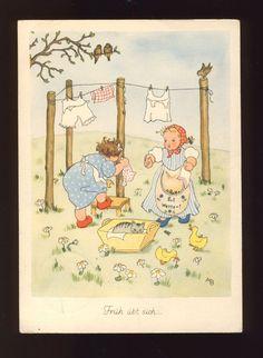 ANNELIESE BAUER 2 Mädchen mit Katze hängen Wäsche auf 1937 in Sammeln & Seltenes, Ansichtskarten, Motive | eBay