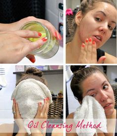 How to do it: Place a hot, damp washcloth on the face for 20 seconds. Remove the washcloth, massage your oil of choice into the skin, let the oil sit for 30 seconds, and use a hot washcloth to gently wipe the oil away.  .:::::  For oily skin, use a little bit of tea tree or peppermint oil with castor oil. ::::: For normal to dry skin, try argan or shea oil