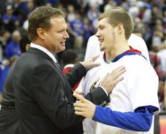 Kansas head coach Bill Self jokes with his son Tyler after the win over Saint Louis ~ 11.20.12