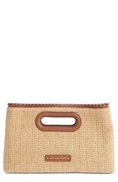 MICHAEL MICHAEL KORS 'Large Rosalie' Straw Clutch. #michaelmichaelkors #bags #shoulder bags #clutch #lining #leather #hand bags