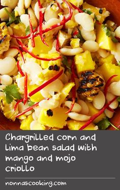 Chargrilled corn and lima bean salad with mango and mojo criollo | This colourful, flavourful recipe from South America is a must-try this summer. Chargrilled corn, lima beans and fresh mango make up the salad, which is topped off with a chilli kick and zesty dressing. And to save time, you can always use canned beans.