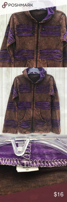 """Cotton Jacket I just LOVE this rust and purple color combination! No brand tag, just a size M tag. Pre-loved, in good shape, color variations throughout but it's all a part of its design! Shoulder to hem: 23"""" outer sleeve:  23"""" pit to pit: 18"""". Jackets & Coats Utility Jackets"""