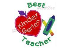 Kindergarten  Teacher Best Teacher Machine Embroidery Applique Design Apple Crayon Pencil Heart by 2artzee on Etsy