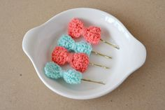 Mint and Coral  Crocheted bow hair pins poppy pins by LePetitKnit, $10.00