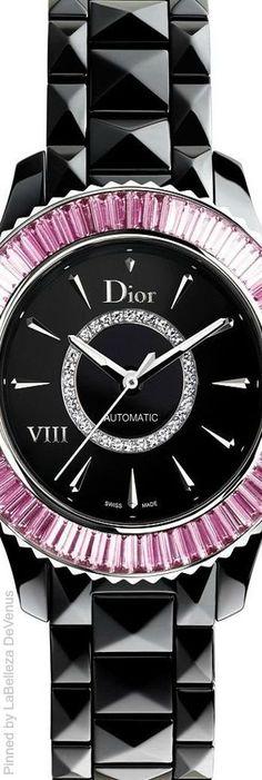 Dior VIII 33mm automatic watch set with baguette-cut tsavorite garnets