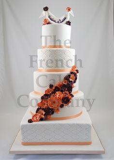 wedding cake orange and mauve flowers piece montee mariage fleurs oranges et mauves bruidstaart - Piece Montee Mariage
