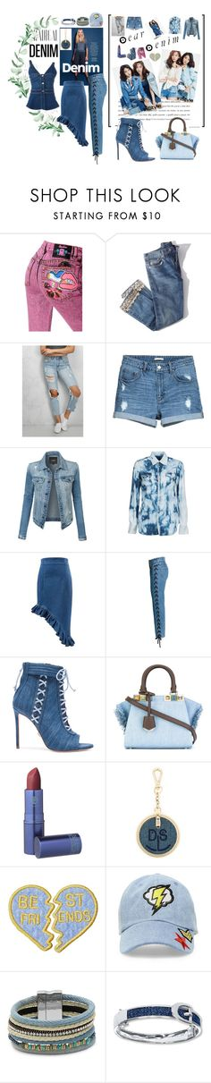 """""""Denim 3"""" by archsan ❤ liked on Polyvore featuring Alima, Marc Jacobs, Brock Collection, Rare London, LE3NO, Dsquared2, Oscar Tiye, Fendi, Lipstick Queen and Diesel"""