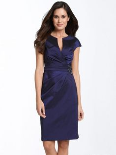 Elegant Knee Length Short-Sleeves Elastic Woven Satin Mother Of The Groom Dress
