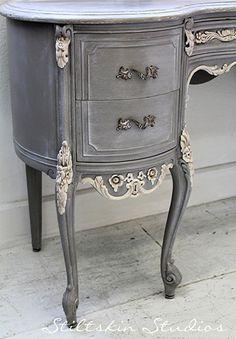 Stiltskin Studios: Weathered Grey French Desk Always love her work! #paintedfurniturefrench