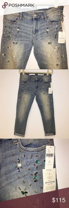 ✨ Anthropologie Embellished Crop Boyfriend Jeans ✨ These are so gorgeous! If you love a little sparkle these are for you. A bit of a baggy fit, very slight stretch. Anthropologie Jeans Boyfriend