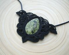 Serpentine macrame necklace gemstone necklace by PieceOfGraceArt