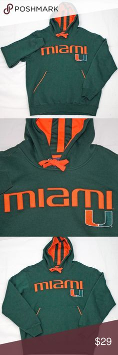 7b1deade0 University of Miami Hurricanes Hooded Pocket Sweat University of Miami  Hurricanes Hooded Pocket Sweatshirt Size Medium Champs Shirts Sweatshirts    Hoodies