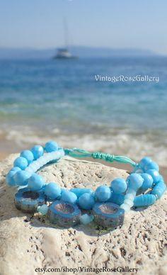 Sky Blue Multi Strand Bracelet, Aqua Boho Chic Bracelet , Czech Glass Bracelet , Summer Aqua Blue Bracelet by VintageRoseGallery Vintage Roses, Czech Glass, Turquoise Bracelet, Boho Chic, Aqua, Sky, Jewellery, Trending Outfits, Unique Jewelry