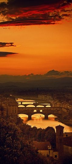 The Four Bridges of Florence, Italy