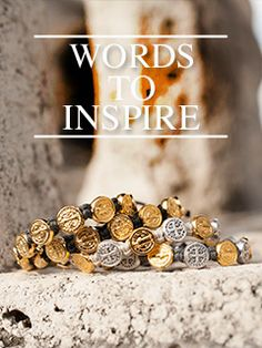 Words to Inspire - My Saint My Hero blog - photo of Benedictine Blessing bracelets with gold, and mixed medals on a stone shelf