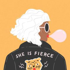 She Is Fierce Mini Art Print by charlyclementsillustration : She Is Fierce Mini Art Print by Charly Clements Without Stand 3 Framed Art Prints, Canvas Prints, Graphic Art Prints, Posca Art, Book Art, She Is Fierce, Feminist Art, Arte Pop, Mellow Yellow
