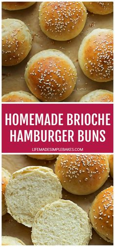 Classic egg and butter dough made into beautiful homemade brioche hamburger buns. They'll be the talk of your summer BBQs! Homemade Burger Buns, Homemade Brioche, Hamburger Buns, Bun Recipe, Mets, Calories, Tortillas, Bread Recipes, Food Print