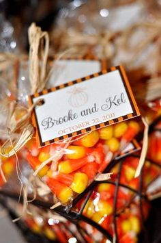 Fall Wedding Favors | fall-wedding-favors, wedding-favors these are cute and tasty - not sure what yall had in mind for favors...this would be easy ! #Candy corn #Orange #Yellow #Candy #Halloween