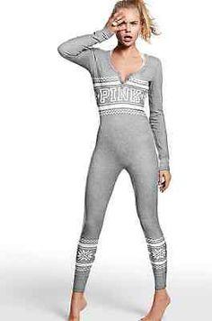 5c141e7389 S M Victoria s Secret PINK Onesie Thermal Long Jane Pajamas Gray Snowflake Victoria  Secret Pajamas