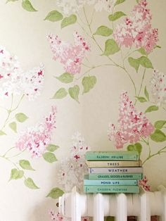 A romantic, sophisticated lilac tree floral #wallpaper design with subtle tonal effects.