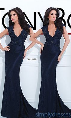 Long Deep V-Neck Navy Blue Gown at SimplyDresses.com