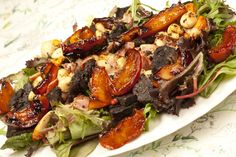 Warm Salad of Scallops, Black Pudding, Bacon and Apples. http://cindyduffield-cookingthebooks.co.uk/warm-salad-scall…ing-bacon-apples/