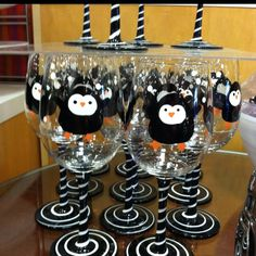 I NEED TO GO TO PIER 1!!!! these penguin wine glasses :) So cute from Pier 1!