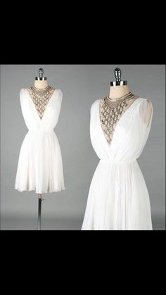 Vintage 1960s dress , white chiffon, jeweled bib Jack Bryan