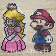 Mario and Princess Peach perler beads by tarawashere88