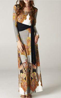 Long asymmetrical fall colors maxi dress. Shannasthreads.com