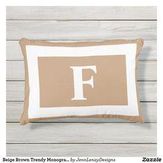 Beige Brown Trendy Monogram Personalized Outdoor Pillow Monogram Pillows, Monogram Initials, Outdoor Throw Pillows, Bed Pillows, Light Beige, Artwork Design, Adulting, Favorite Color, Plush