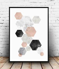 Minimalist wall art pink and gray abstract print hexagon decor - Wallzilladesign Pink Wall Art, Nursery Wall Art, Framed Wall Art, Wall Art Prints, Minimalist Painting, Minimalist Art, Minimalist Poster, Modern Art Prints, Modern Wall Art