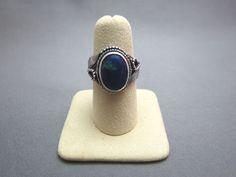 VTG Marked 925 Sterling Silver Ring Size 6.5 Leaf 4.9 Grams Blue Swirl Stone SW #Unbranded