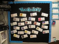 Melissa of F is for First Grade designed this fantastic literacy bulletin board idea that would work great for any early childhood classroom or library. {We found it via Brenda at Primary Inspired. Vocabulary Instruction, Teaching Vocabulary, Teaching Reading, Vocabulary Ideas, Teaching Ideas, Academic Vocabulary, Reading Activities, Kindergarten Activities, Learning