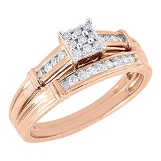10K Rose Gold Round Cut Diamond Engagement Ring  Wedding Band Square Bridal Set 022 Cttw ** Read more by visiting the link on the image.
