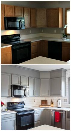 Wall Color: Benjamin Moore Chelsea Graykit; Backsplash: Manhattan Subway tile with Mist grout from South Cypress