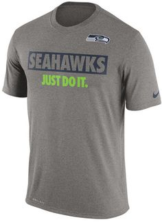 Get in the competitive spirit with this Nike NFL men's Just Do It T-shirt. The Seattle Seahawks name and logo are prominently displayed along with the classic Nike slogan to pump you up before the big game. Crew neck Short sleeves Screen print team graphic at front Screen print brand logo at left sleeve Moisture-wicking Dri-FIT technology Regular fit Tagless Polyester Machine washable