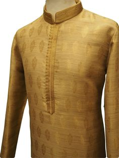 Mens Kurta (Long Shirt) and gold churidar trousers set.(Draw stringed tight at ankle Indian trousers)Ideal for Asian weddings , Bollywood Parties or any special occasion. Indian Men Fashion, African Fashion Dresses, Men's Fashion, Wedding Dress Sleeves, Dresses With Sleeves, Wedding Dresses, Mens Kurta Designs, Kurta Design For Men, Costume Africain