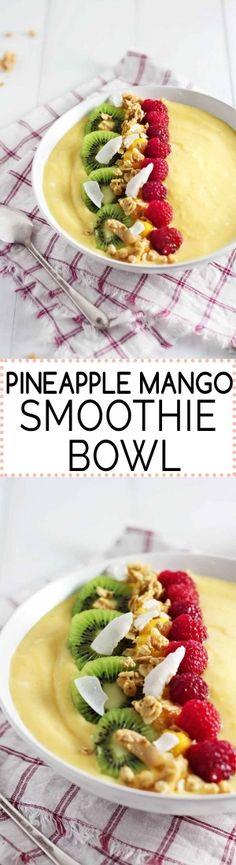 Pineapple Mango Smoothie Bowl by Jar Of Lemons. SO good! {Gluten-Free, can be easily made Vegan}