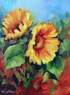 Earth Child Sunflower Painting, 16X12, oil by Nancy Medina www.nancymedina.com