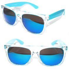 c2906b0fb4aec8 FLAT TOP SUNGLASSES IMPERO SUPER CLEAR NEON BLUE FRAME GOLD MIRROR