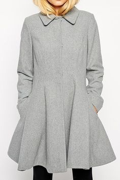 Single-Breasted Gray Cocktail Coat