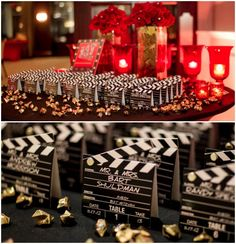 Hollywood Party Escort Place Cards (Melani Lust Photography). View Full Bat Mitzvah - www.mazelmoments.com/blog/16555/hollywood-red-carpet-bat-mitzvah-party/