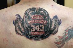 FDNY Helmet Tattoo done by Sean Ambrose at Arrows and Embers Custom Tattooing Full Arm Tattoos, Half Sleeve Tattoos Designs, Best Tattoo Designs, Hand Tattoos, Tatoos, Fireman Tattoo, Firefighter Tattoos, Respect Tattoo, Irish Tattoos